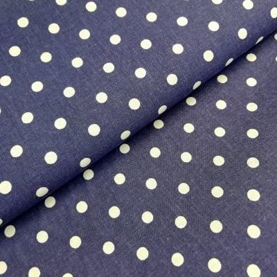 Tecido Polka dots navy e branco
