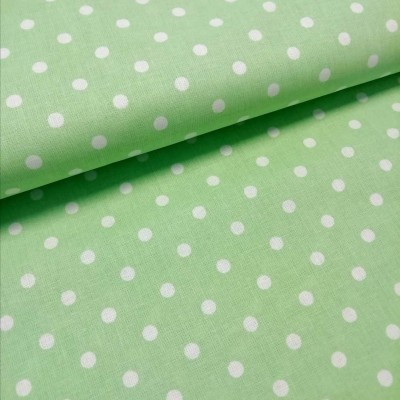 Tecido Polka dots verde e branco