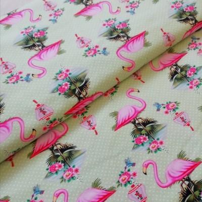 Malha de Jersey Flamingos em Verde-água