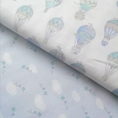 Tecido Balões Ar Quente azul