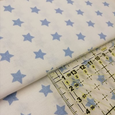Tecido Estrelas azul céu fundo branco