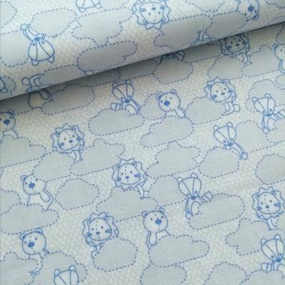 Tecido baby soft blue friends