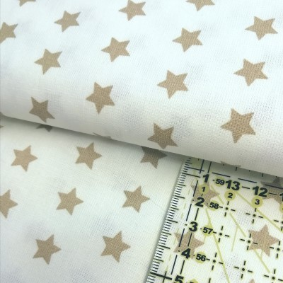 Tecido Estrelas bege fundo branco