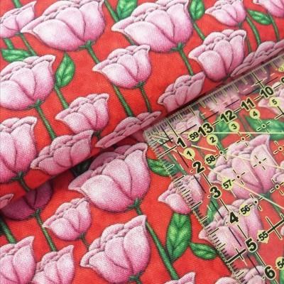 Tecido Gorjuss - tulipas fundo vermelho