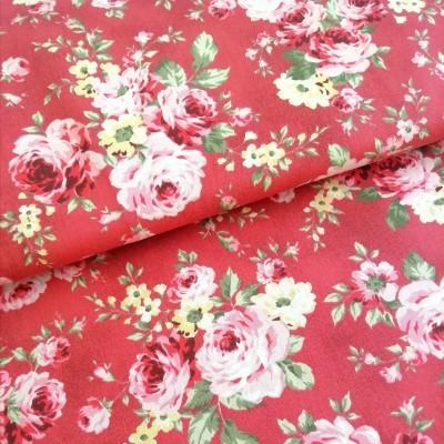 Tecido Fabricart - floral - fundo vermelho