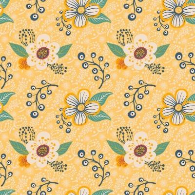 Tecido Fabricart - contemporâneo flores em fundo amarelo