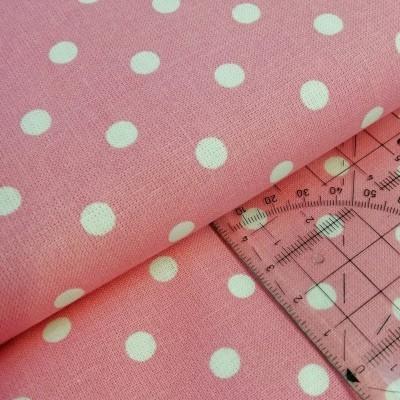 Tecido Polka dots rosa e branco
