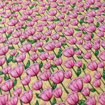 Tecido Gorjuss - tulipas fundo bege
