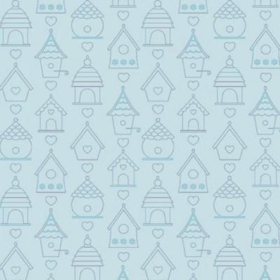 Tecido Fabricart - casas de pássaros fundo azul