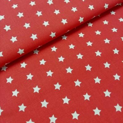 Tecido Estrelas brancas fundo vermelho
