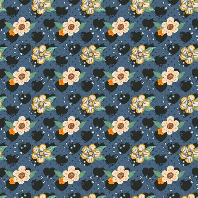 Tecido Fabricart - contemporâneo azul flores e corações