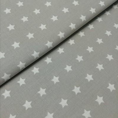 Tecido Estrelas brancas fundo cinza