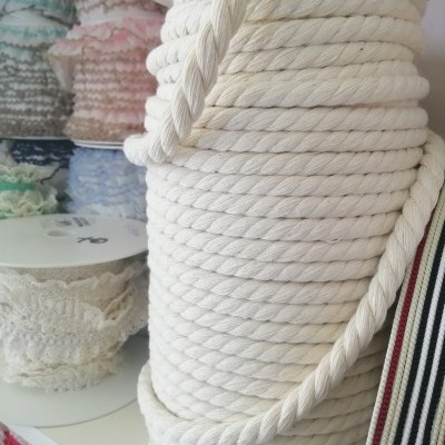 Cordão de algodão largo cru