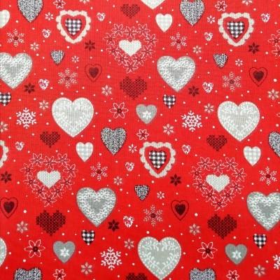 Tecido Natal hearts