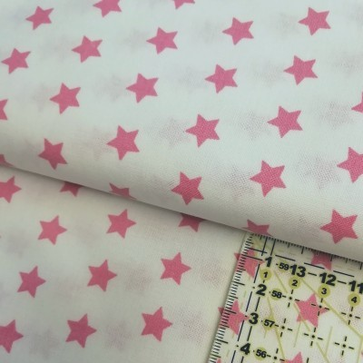 Tecido Estrelas rosa fundo branco