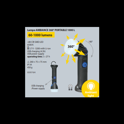 Lâmpada de ambiente portátil 1000L