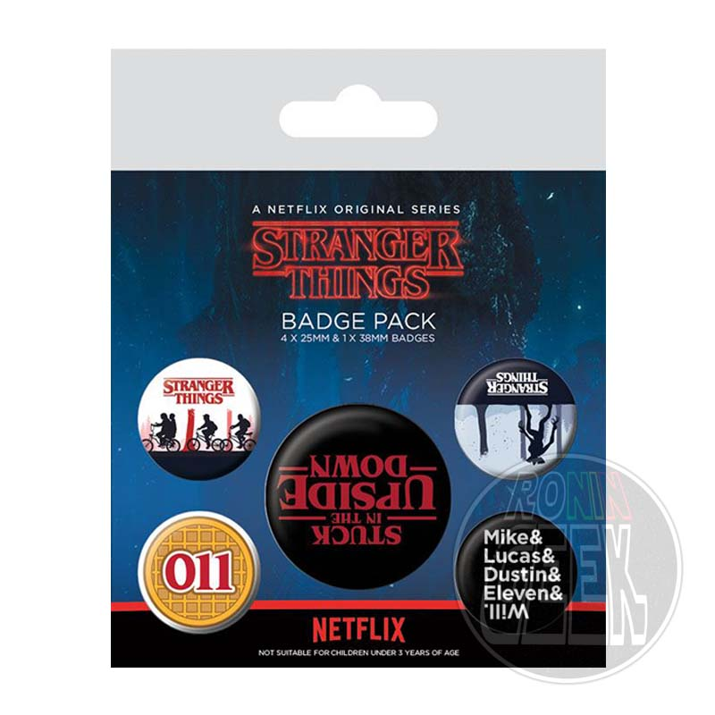 Stranger Things Pin Badges 5-Pack Upside Down