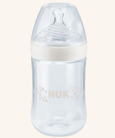 NUK   Biberão NUK Nature Sense em vidro 240 ml (Silicone, 0-6m)