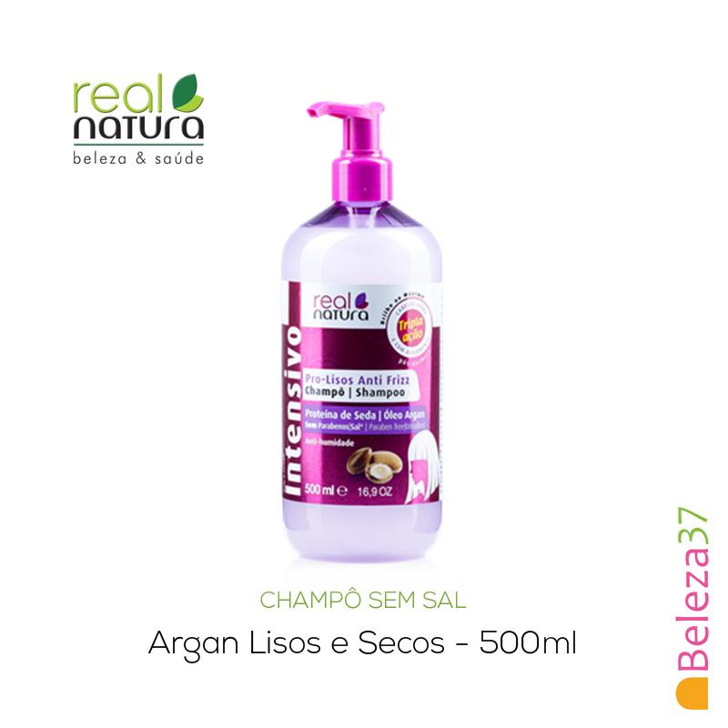 Champô Sem Sal Real Natura – Argan Lisos e Secos 500ml