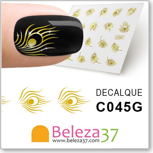 Decalques com Penas de Pavão em Ouro Metálico (C045G)