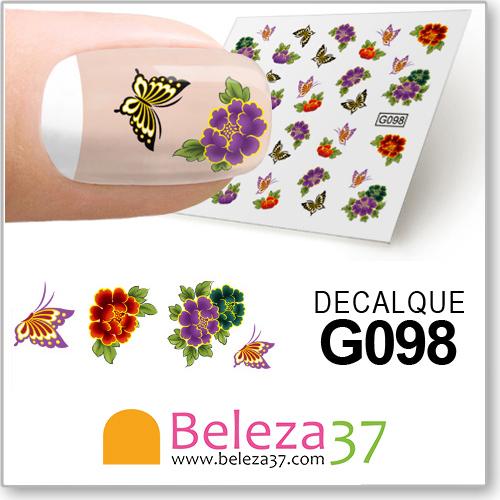 Decalques com Flores e Borboletas Coloridas (G098)