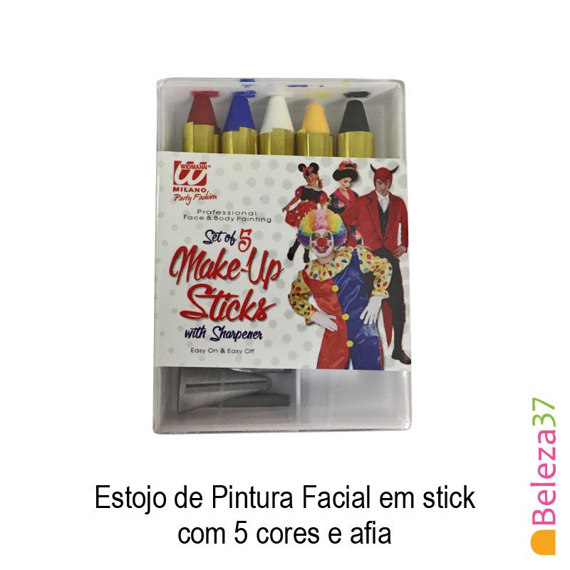 Estojo de Pintura Facial em stick com 5 cores e afia