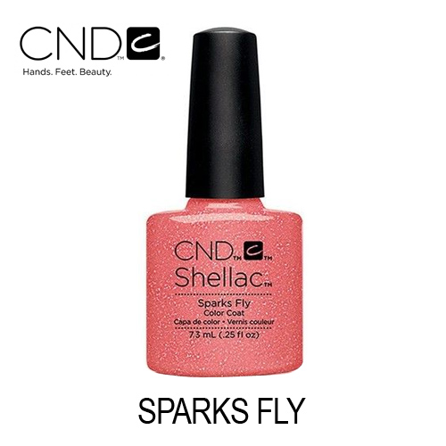 CND Shellac – Sparks Fly (Coral com Glitters)