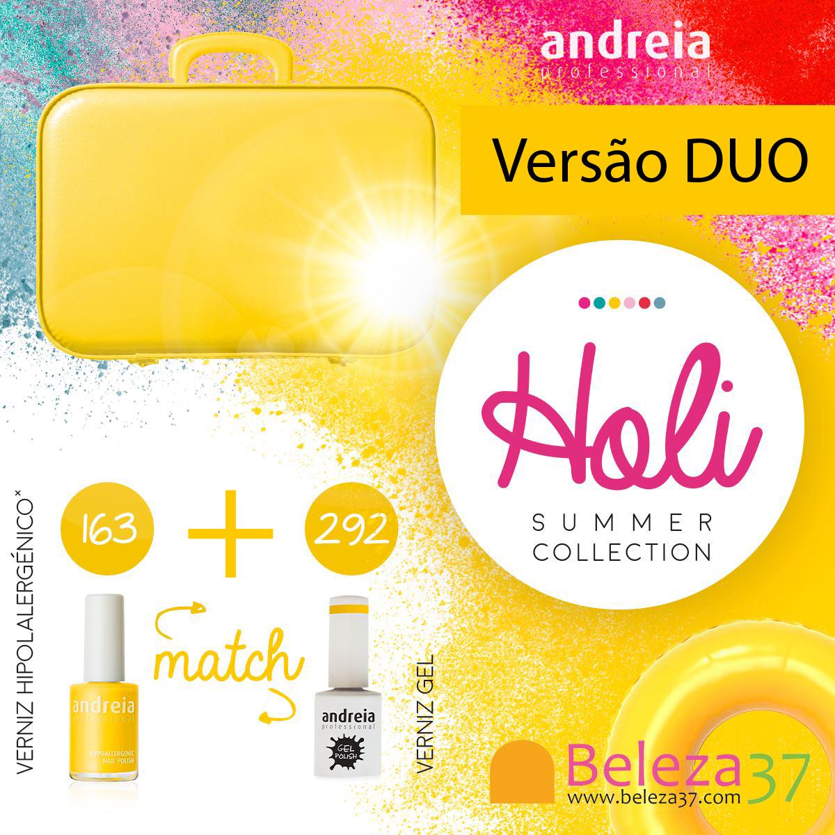 DUO - Verniz Gel Andreia 292 + Verniz 14ml n.163 (Amarelo Canário)