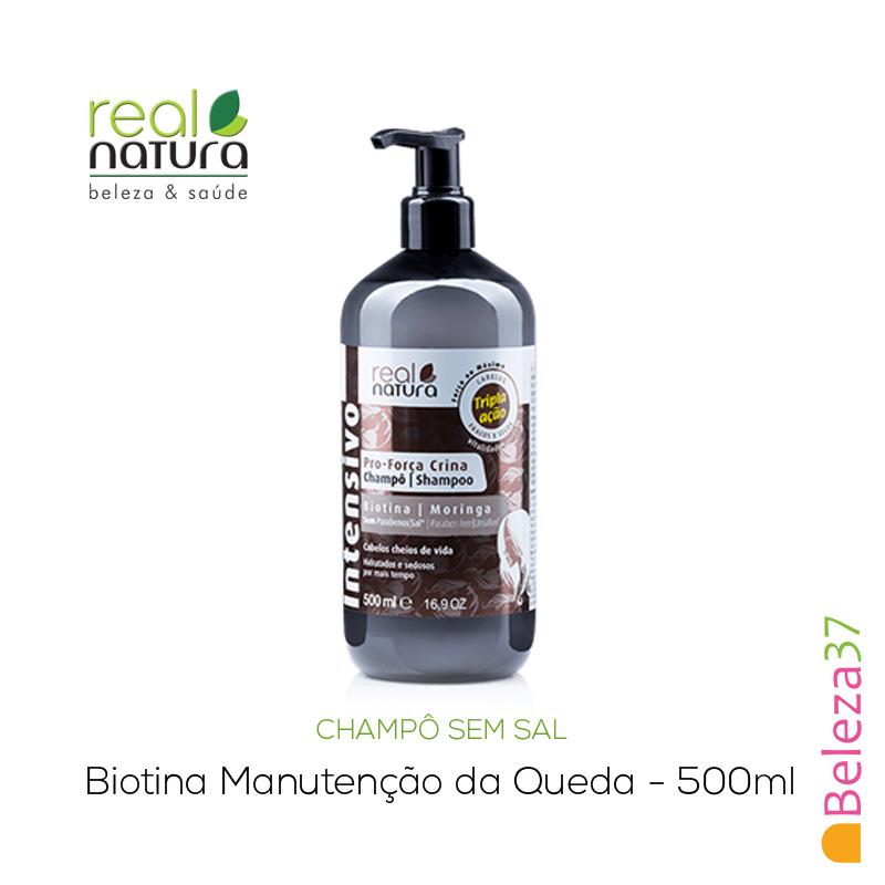 Champô Sem Sal Real Natura – Pro-Força Crina 500ml (Biotina Manutenção da Queda)