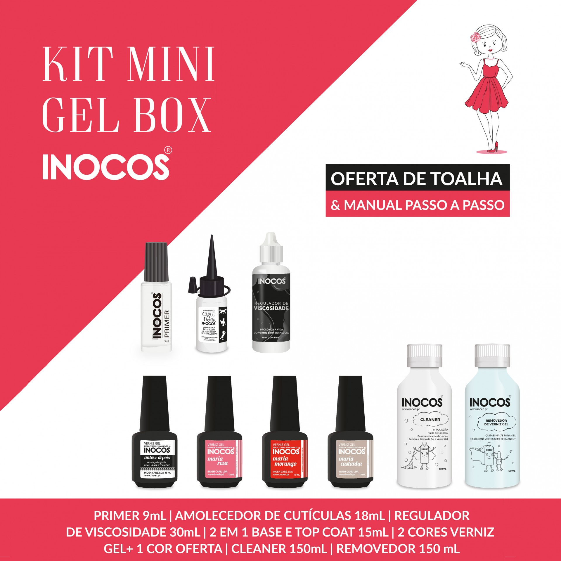 Verniz Gel Inocos — Kit Mini Gel Box
