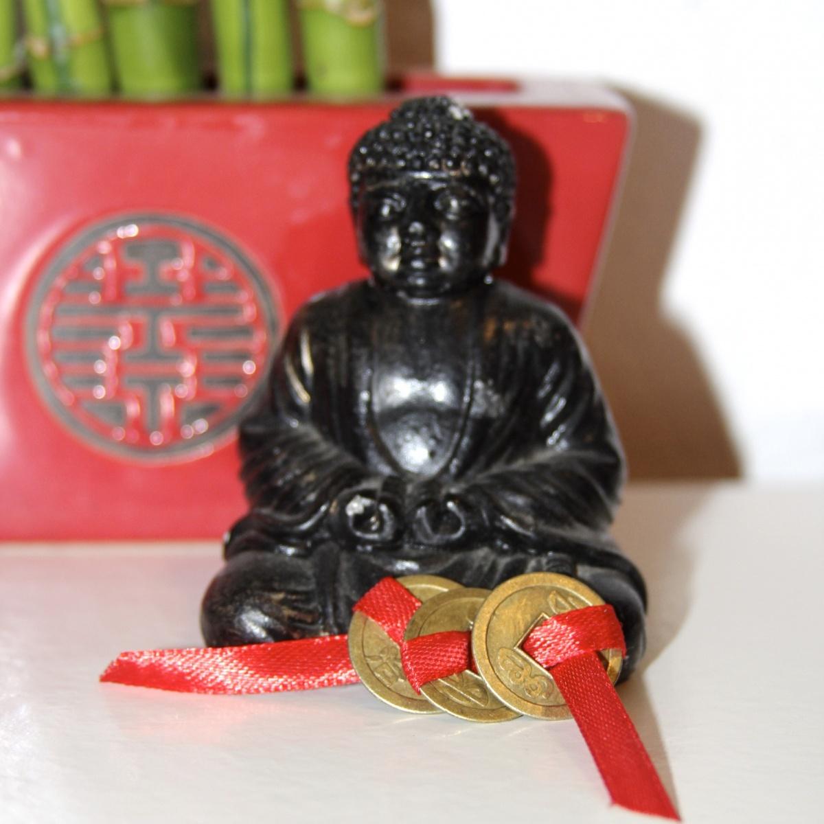 3 Moedas Chinesas em Fita Vermelha - Atrai Prosperidade