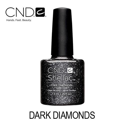 CND Shellac – Dark Diamonds (Preto com Brilhos Prateados)