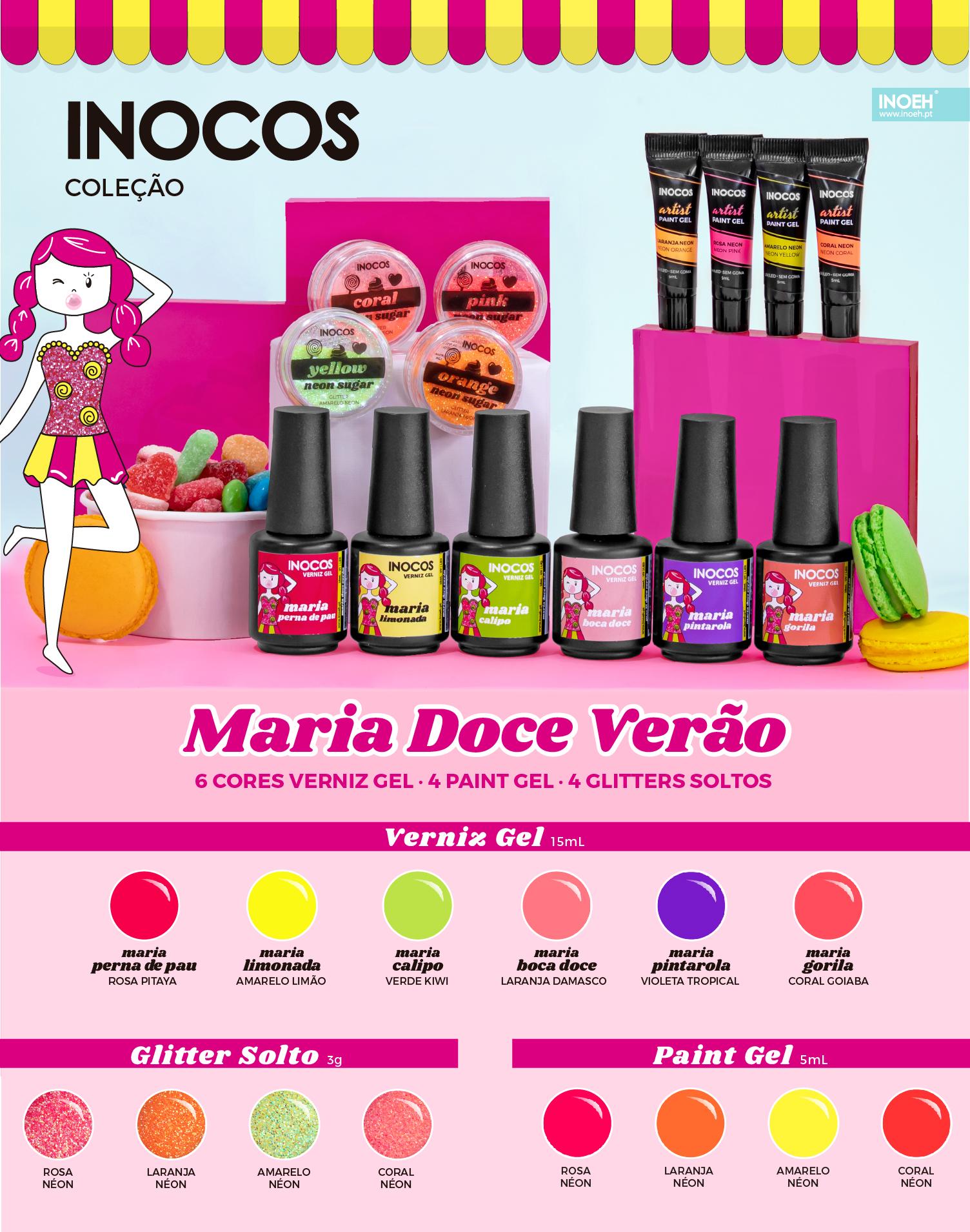 """Verniz Gel Inocos – Coleção 6 Cores """"Maria Doce Verão"""""""