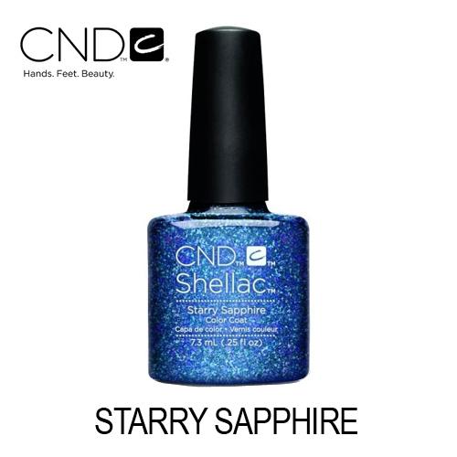 CND Shellac – Starry Sapphire (Mistura de Azul Indigo e Roxo com Glitter)