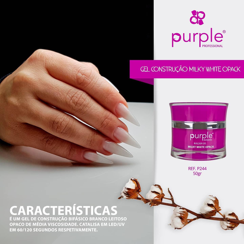 Gel Construtor Purple Milky White Opack – Branco Leitoso Opaco 50g