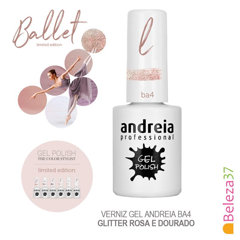 Verniz Gel Andreia Ba4 – Glitter Rosa e Dourado