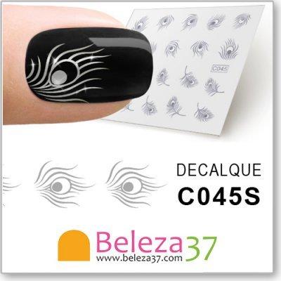 Decalques com Penas de Pavão em Prata Metálica (C045S)