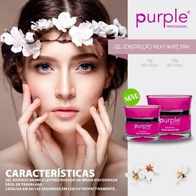 Gel Construtor Purple Milky White Pink - Branco Leitoso Rosado