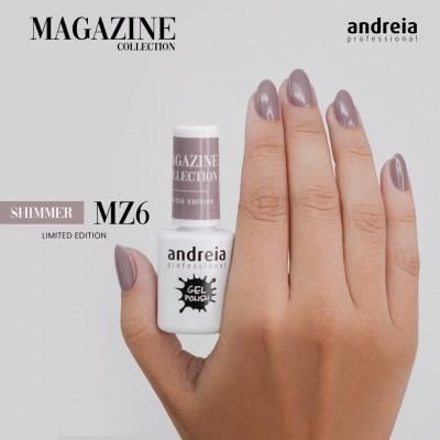 Verniz Gel Andreia MZ6 – Nude Cinza com Ligeiros Brilhos Dourados (Outono)