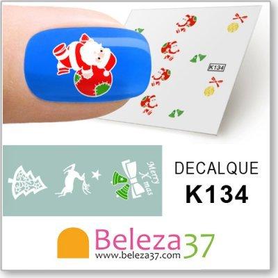 Decalques com o Pai Natal, Renas, Bolas e Árvores (K134)