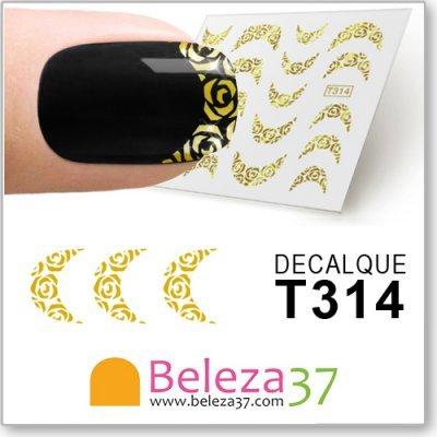 Decalques Francesinha com Rosa em Ouro (T314)