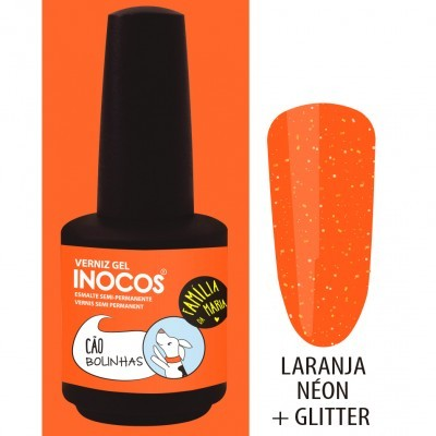 Verniz Gel Inocos – 199 - Cão Bolinhas (Laranja Néon + Glitter)
