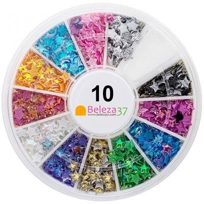 Roda 10 – Estrelas Iridescentes 3D em 12 cores