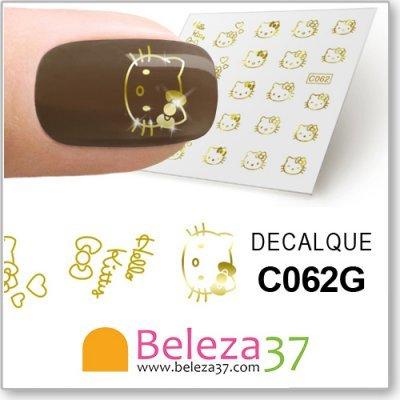 Decalques da Hello Kitty em Ouro (C062G)