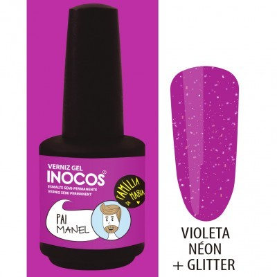 Verniz Gel Inocos – 195 - Pai Manel (Violeta Néon + Glitter)