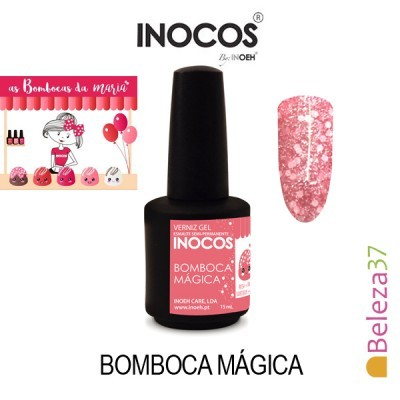 Verniz Gel Inocos 149 – Bomboca Mágica (Rosa com brilhos sortidos)