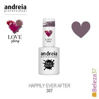 Verniz Gel Andreia 307 - happily ever after - Lilás acinzentado com brilho dourado