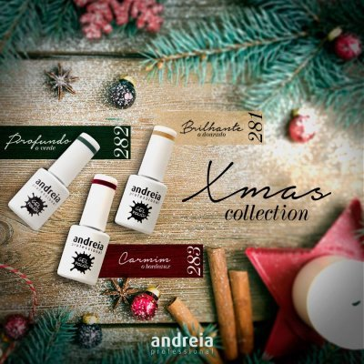 Kit Xmas Collection - 3 Cores de Verniz Gel Andreia