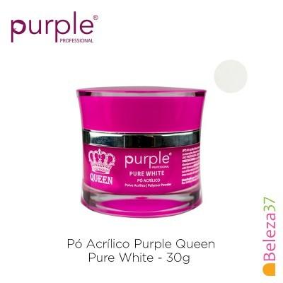 Pó Acrílico Purple Queen 30g - Pure White (Branco Puro)