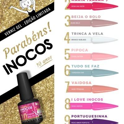 """Verniz Gel Inocos – Coleção 10 Cores """"Parabéns Inocos"""""""